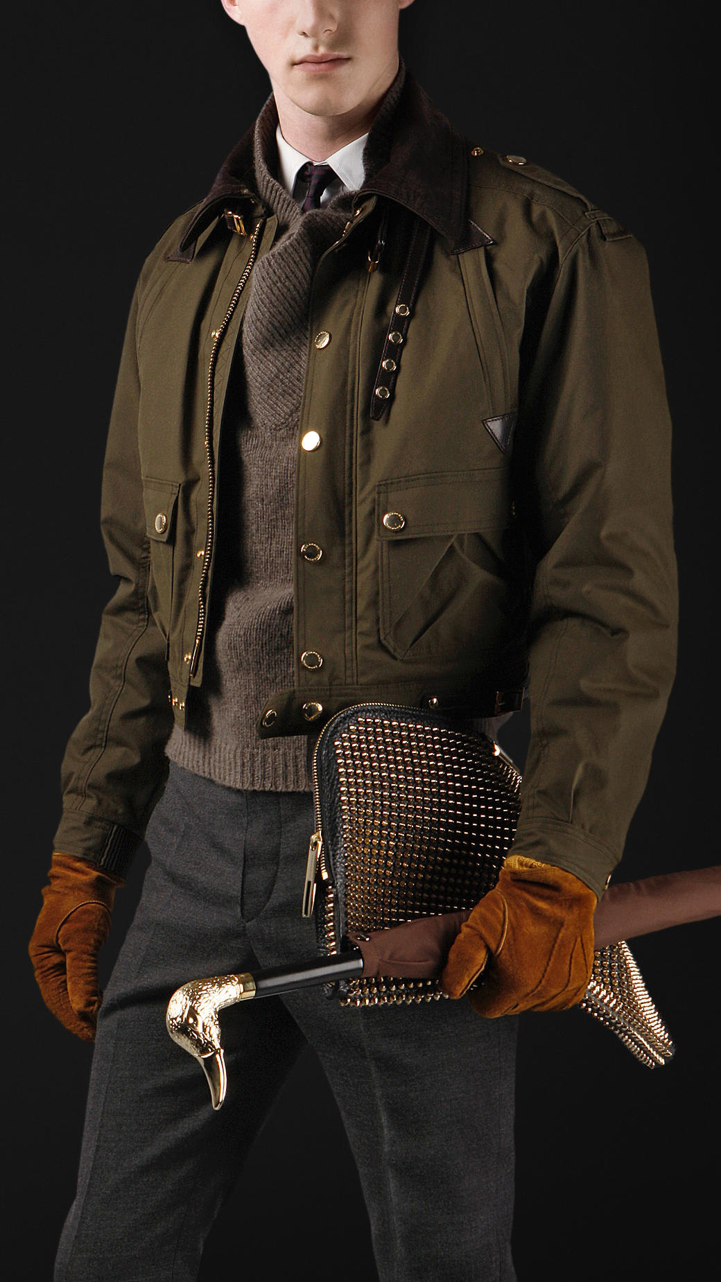 Burberry Prorsum Cropped Waxed Cotton Bomber Jacket In