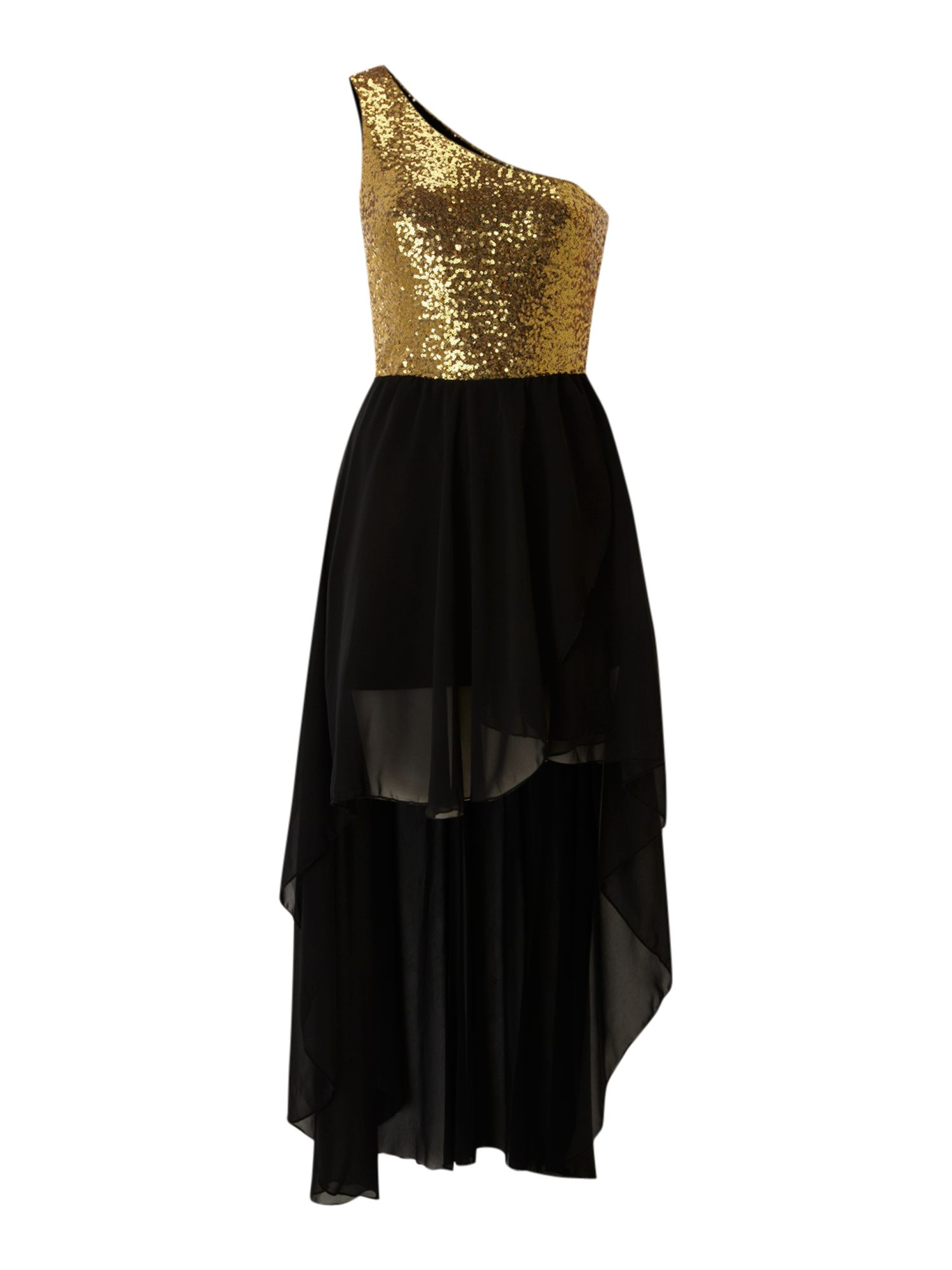 John Zack One Shoulder Sequin High Low Dress In Gold Lyst