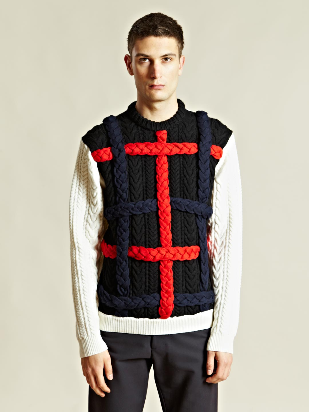 J.w.anderson Mens Braided Cable Knit Jumper in Black for Men | Lyst