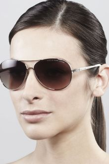 Marc By Marc Jacobs Templedetail Aviator Sunglasses Light Gold - Lyst