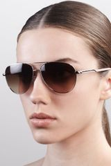 Stella McCartney Metal Aviator Sunglasses Silver - Lyst