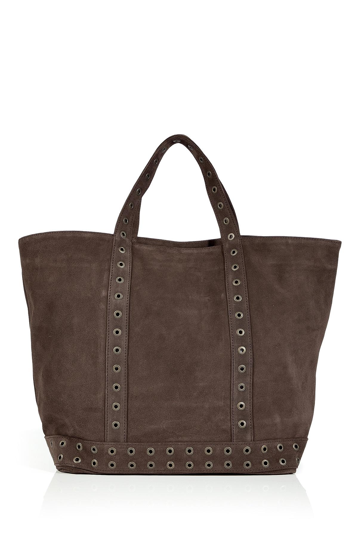vanessa bruno warm chocolate studded suede big cabas bag in brown chocolate lyst. Black Bedroom Furniture Sets. Home Design Ideas