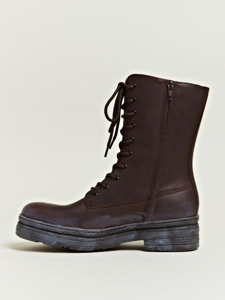 yohji yamamoto mens leather engineer boots in brown for