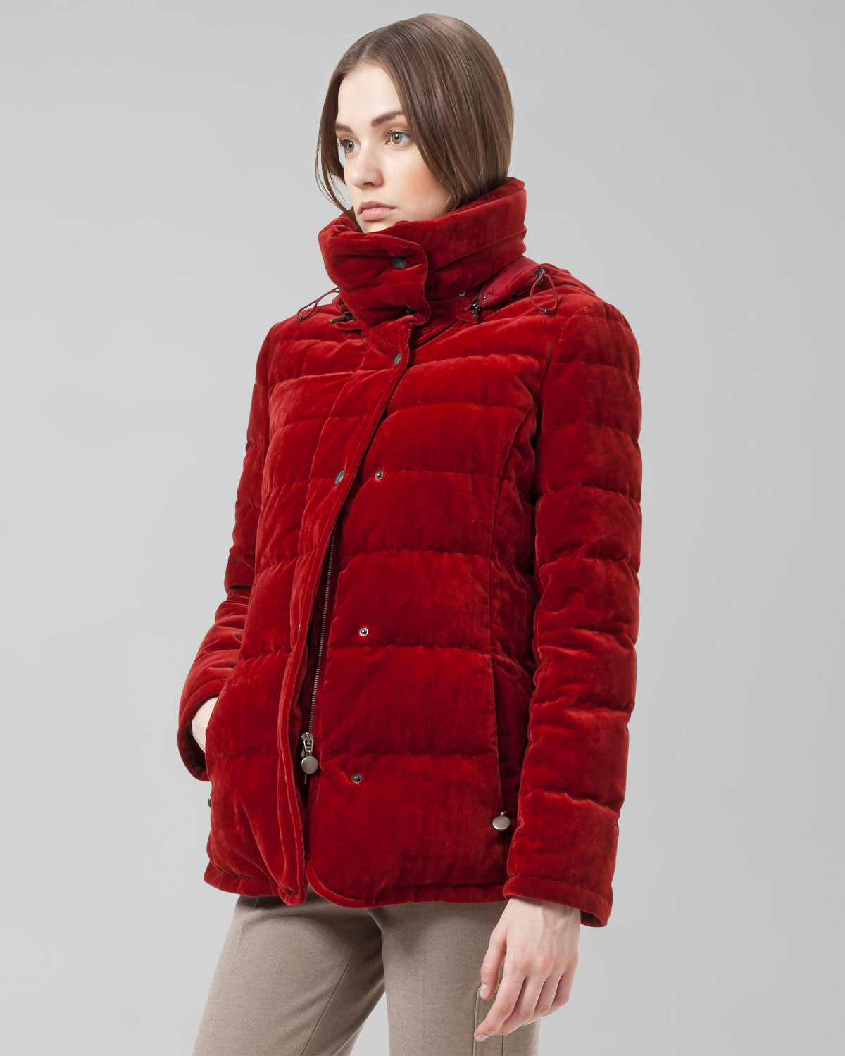 Akris Punto Velvet Puffer Jacket In Red Lyst