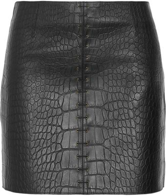 Alexander Wang Croceffect Leather Mini Skirt - Lyst