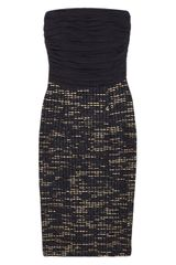 Alice + Olivia Ruched Silk Blend Crepe And Woven Tweed Dress - Lyst