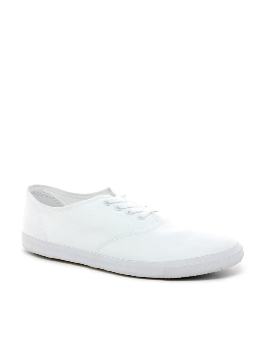8d9b82447317d ASOS Asos Oxford Plimsolls in White for Men - Lyst