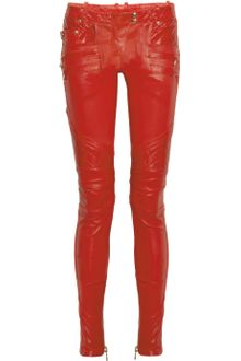 Balmain Quilted Panel Leather Skinny Pants - Lyst
