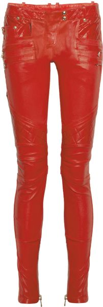 Balmain Quilted Panel Leather Skinny Pants in Red