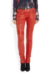 Balmain Quilted Panel Leather Skinny Pants in Red - Lyst