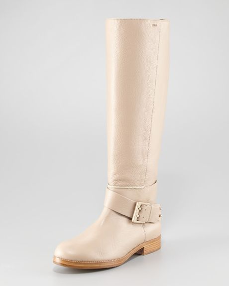 Chloé Erin Riding Boot in Beige (neutral) - Lyst