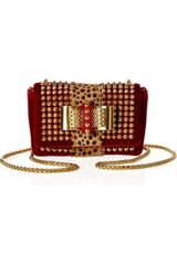 Christian Louboutin Sweet Charity Spiked Velvet and Calf Hair Shoulder Bag - Lyst
