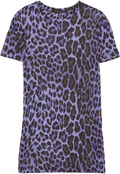 Christopher Kane Leopardprint Modaljersey Tshirt in Blue (leopard)