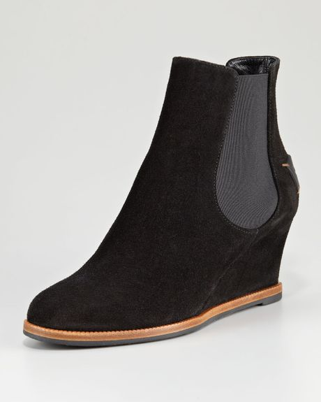 fendi cathy suede logoback wedge ankle boot in black lyst