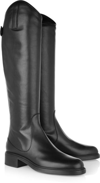 Gucci Leather Knee Boots in Black - Lyst