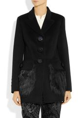 Marc Jacobs Faux Furtrimmed Wool Jacket in Black - Lyst