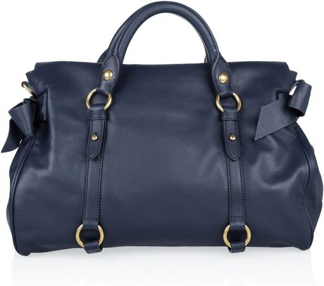 Miu Miu Bow Leather Tote In Blue Navy Lyst