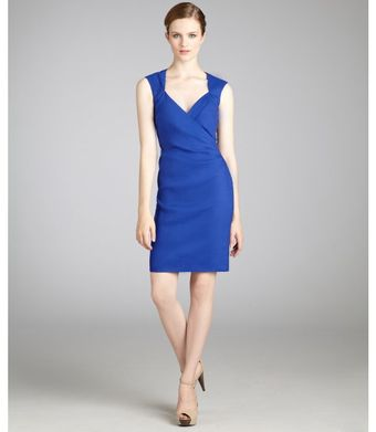 Nicole Miller Blue Stretch Linen Sleeveless Vneck Dress - Lyst