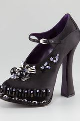 Prada Jeweled Satin Mary Jane Pump - Lyst