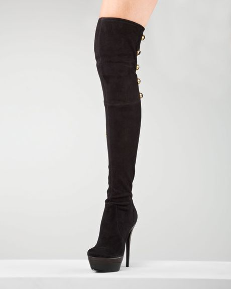 zoe stretch suede overtheknee boot in black