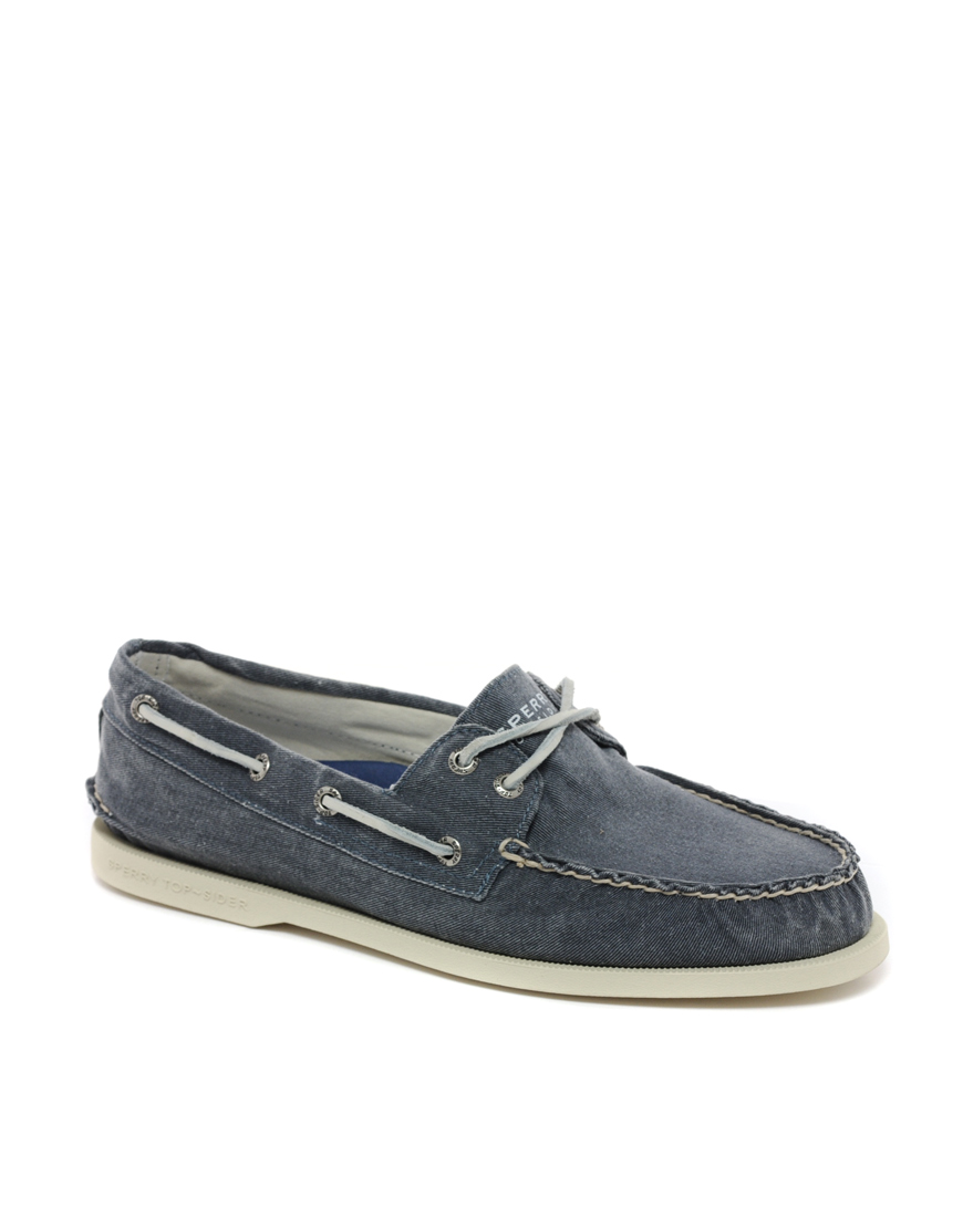 Sperry Top-sider Topsider Washed Canvas Boat Shoes In Blue For Men | Lyst