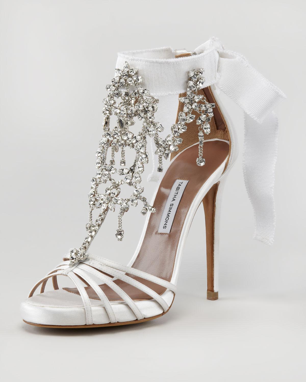 Tabitha Simmons Chandelier Crystal Sandal In White