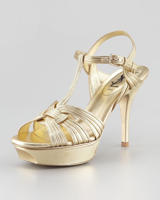 d571838365529e Lyst - Saint Laurent Tribute Metallic Sandal 4 Heel in Metallic
