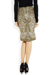 Zac Posen Metallic Brocade Pencil Skirt in Gold - Lyst