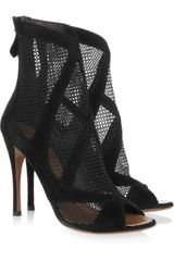 Alaïa Suede and Mesh Peep Toe Boots in Black - Lyst