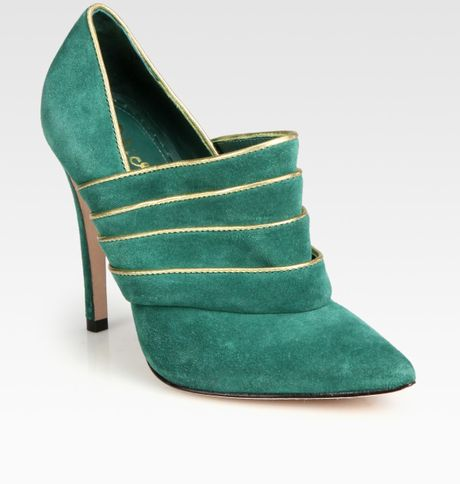 Alice + Olivia Dame Suede and Metallic Leather Ankle Boots in Green (emerald)