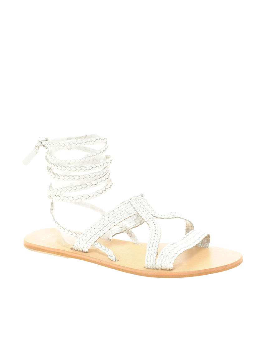 Asos Asos Fiji Leather Tie Up Flat Sandals In White Lyst