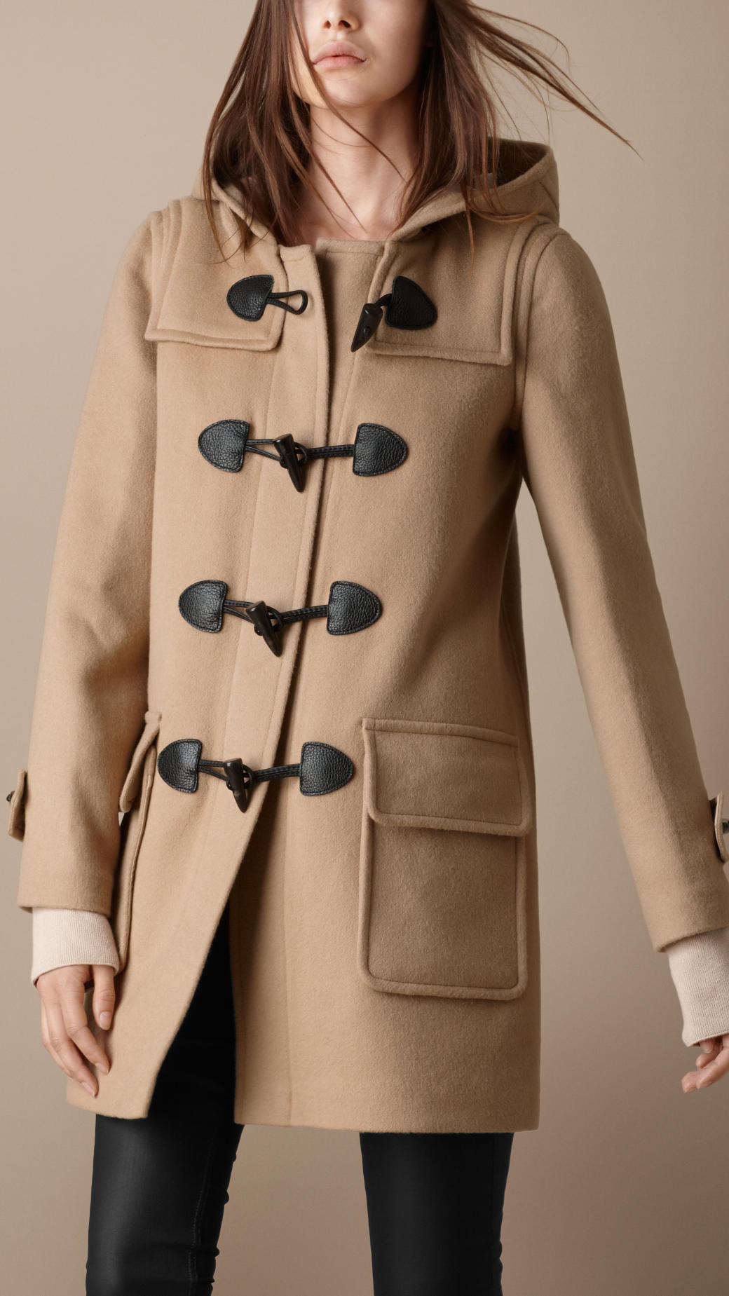 5046e13b8d82e Lyst - Burberry Brit Check Lined Duffle Coat in Natural