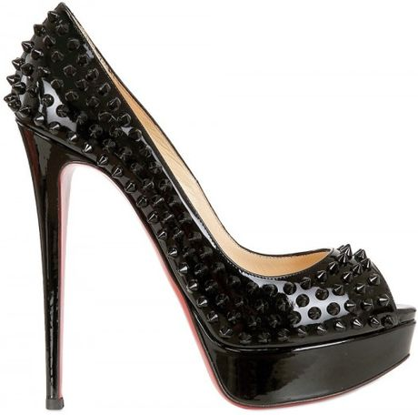 Christian Louboutin Lady Peep Patent Spikes Pumps in Black - Lyst
