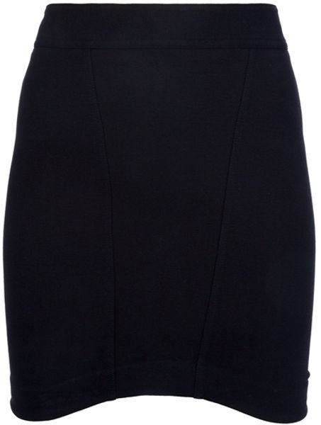 Helmut Lang Fitted Skirt in Black - Lyst