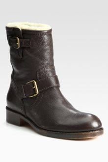 Marc By Marc Jacobs Leather and Shearling Motorcycle Boots - Lyst