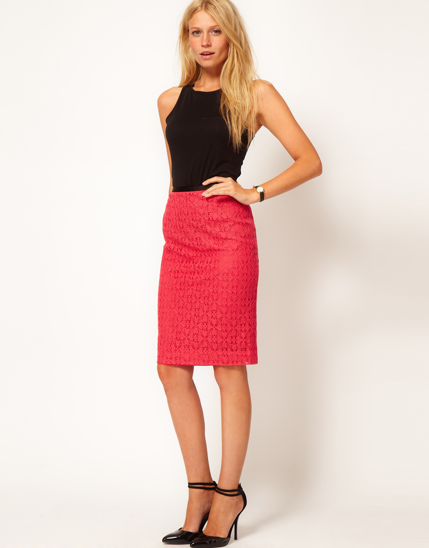 Lyst - Oasis Lace Pencil Skirt in Red