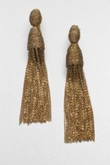 Oscar De La Renta Long Tassel Clipon Earrings in Brown - Lyst