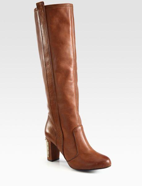 minkoff sari leather and metal heel knee high