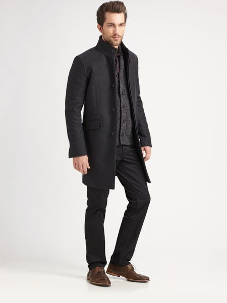 Theory Melton Long Jacket in Gray for Men (charcoal) - Lyst