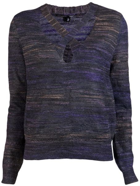 Theyskens' Theory X Neck Sweater in Blue (mauve) - Lyst