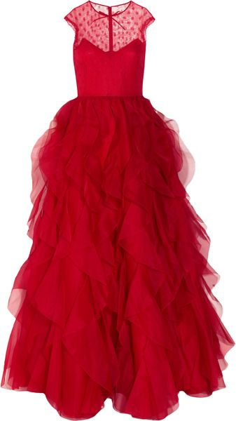 Valentino Lace and Ruffled Silkorganza Gown in Red