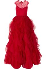 Valentino Lace and Ruffled Silkorganza Gown in Red - Lyst