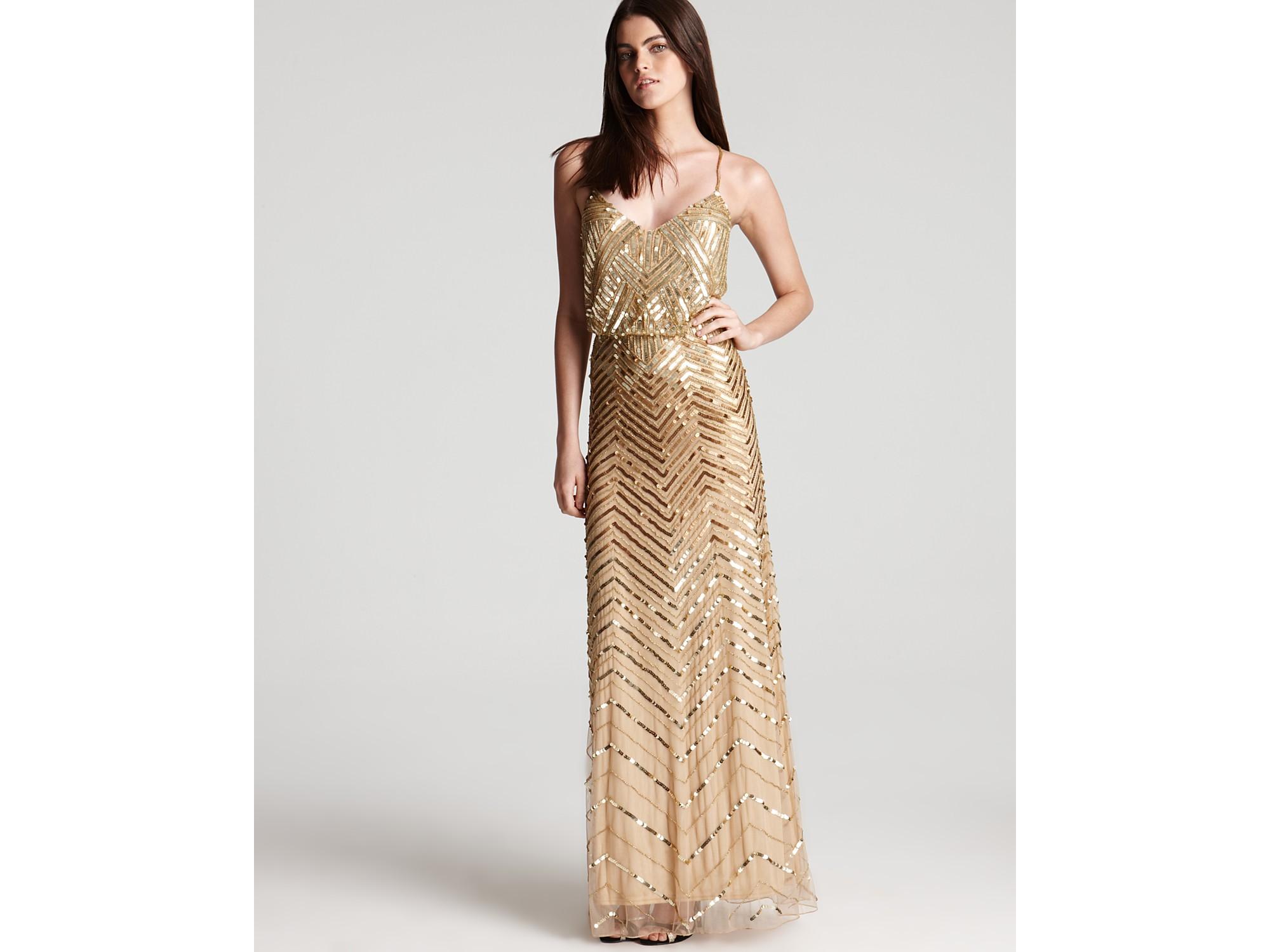 Lyst - Adrianna Papell Beaded Gown Sleeveless V Neck Blouson in Metallic