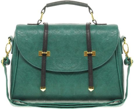 Asos Metal Tip Satchel in Green - Lyst