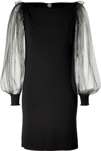 Azzaro Black Tulle Sleeve Messia Dress - Lyst