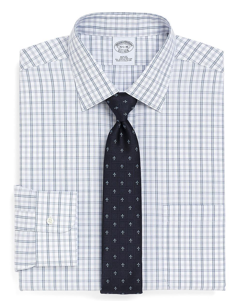 Brooks brothers supima cotton noniron slim fit double for Supima cotton dress shirts