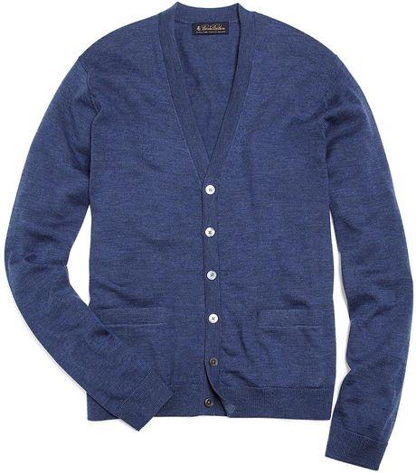 Brooks Brothers Merino Buttondown Cardigan In Blue For Men