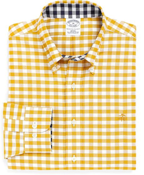 Brooks brothers noniron slim fit oxford gingham sport for Mens yellow gingham shirt