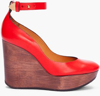 Chloé Red Smooth Leather Wedges - Lyst