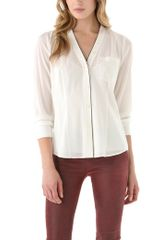 Dkny V Neck Blouse with Contrast Piping in White (ivory) - Lyst